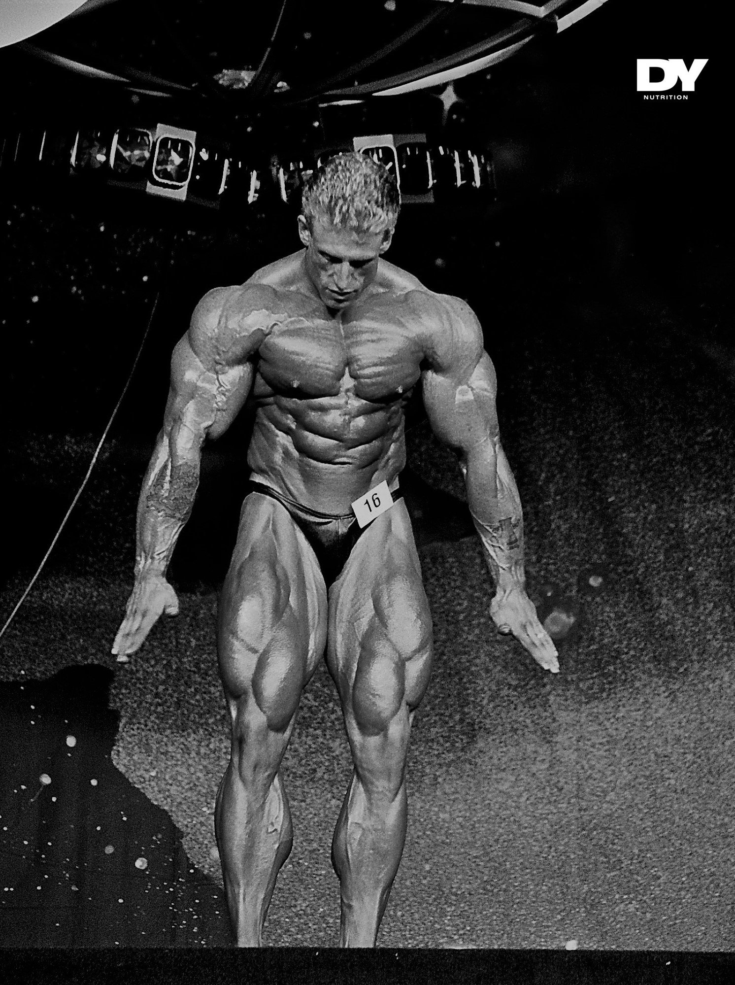 Dorian Yates preparing to pose on Mr. Olympia's stage in 1992.