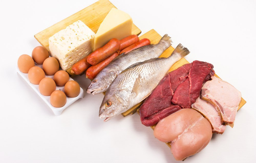 In this picture you can see eggs, meat, and cheese. A Natural source for Choline.