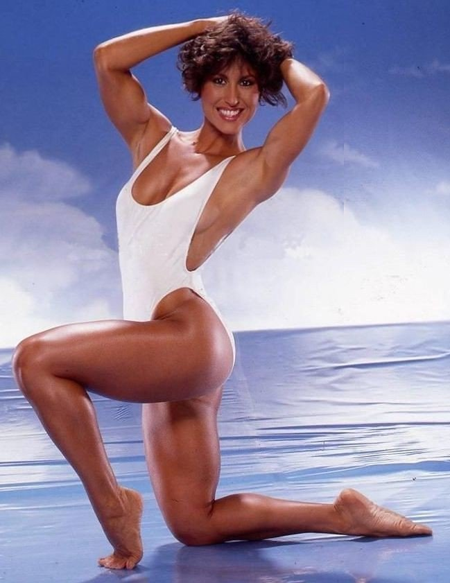 This picture has been used because it shows the first winner of Ms. Olympia 1980, Rachel McLish.