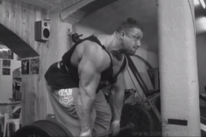 Dorian Yates performing partial deadlifts, from Blood & Guts