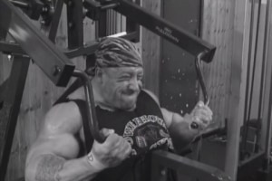 Dorian Yates performing underhand pulldowns, from Blood & Guts