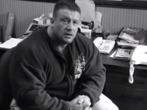 Dorian Yates in his office at Temple Gym